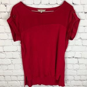 RW&CO Red Tee with Contrast Top and Rolled Sleeve